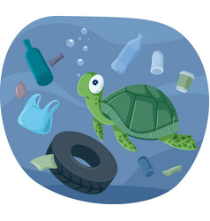 Turtle swimming in polluted ocean vector