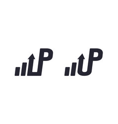 U and p letter with arrow and chart for design vector