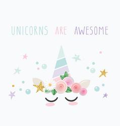 unicorn cute cartoon character for birthday baby vector image