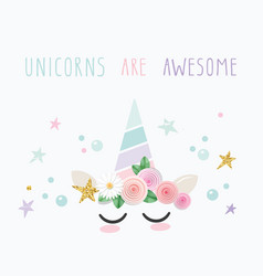 Unicorn cute catroon character for birthday baby vector