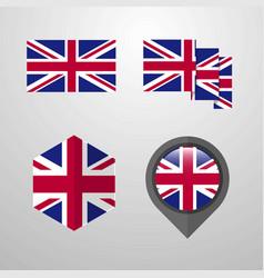 United kingdom flag design set vector