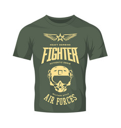 Vintage fighter pilot helmet logo isolated vector