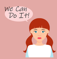 we can do it poster strong girl female power vector image