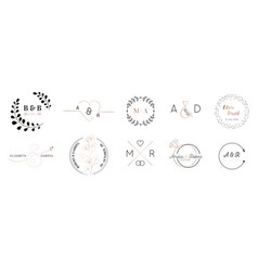 Wedding monogram logos collection invitation vector
