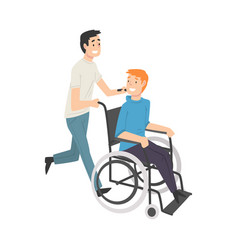 Young man pushing wheelchair with smiling disabled vector