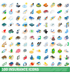 100 insurance icons set isometric 3d style vector image vector image