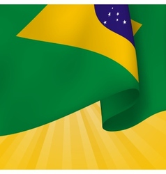 Background With Realistic Flag Of Brazil vector image