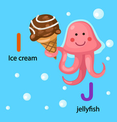 isolated alphabet letter i-ice cream j-jellyfish vector image vector image