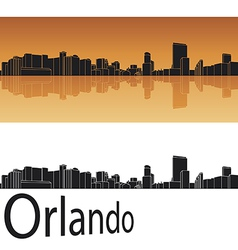 Orlando skyline in orange background vector image vector image
