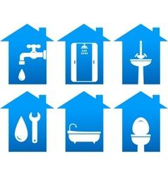 plumbing set of bathroom icons vector image vector image