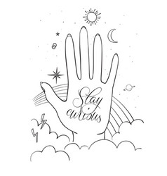 hands palm with sacred and science symbols stay vector image vector image