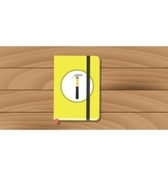 manual user guide book yellow hammer icon flat vector image