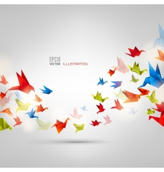 Origami paper bird on abstract background vector image vector image