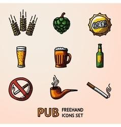 Pub beer handdrawn icons set with - Glass mug vector image vector image