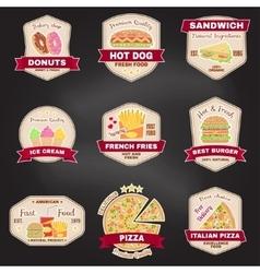 Set of vintage fast food badge banner or logo vector image
