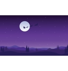 Silhouette of santa sleigh flying at night vector image