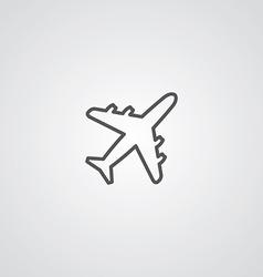 airplane outline symbol dark on white background vector image vector image