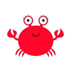 Crab icon Cute cartoon baby character Sea ocean vector image vector image