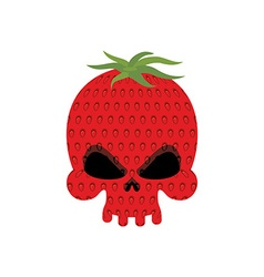 Ripe Strawberry skull Red head skeleton with vector image