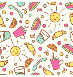seamless pattern with breakfast items vector image vector image