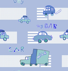 Abstract background seamless baby cars vector image vector image
