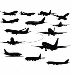 airplanes silhouettes vector image vector image