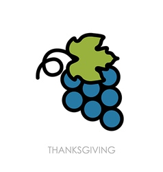 Bunch of grapes icon Harvest Thanksgiving vector image