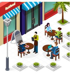 business lunch people composition vector image