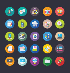 pack of network communications flat icons vector image vector image