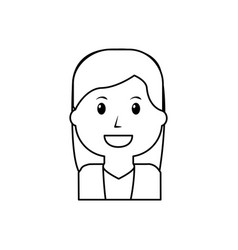 portrait smiling woman young cartoon vector image