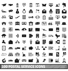 100 postal service icons set simple style vector