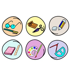 A Set of School Supplies on Round Background vector image