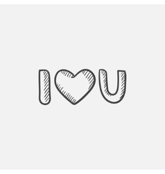 Abbreviation i love you sketch icon vector image