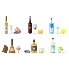 Alcohol drinks beverages cocktail appetizer bottle vector