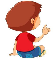 Back of boy pointing finger vector