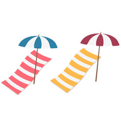 Beach towels and umbrellas isolated on white vector
