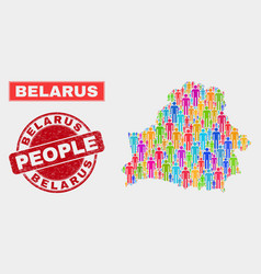 Belarus map population demographics and corroded vector