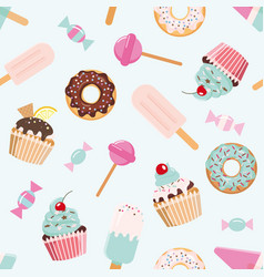 Birthday seamless pattern with sweets girly for vector