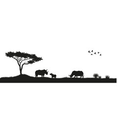 Black silhouette of rhinoceroses in savannah vector