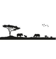 black silhouette rhinoceroses in savannah vector image