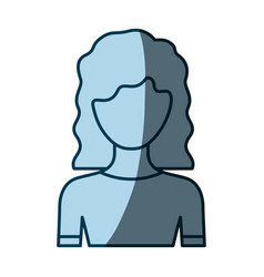 blue color shading silhouette faceless half body vector image