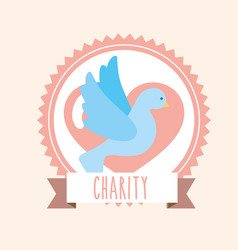 Blue pigeon heart donate charity label banner vector