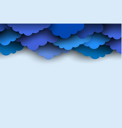 border of blue paper cut clouds for design with vector image