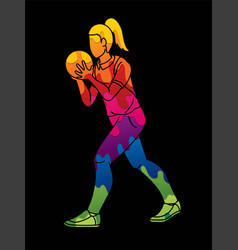 bowler bowling sport female player action cartoon vector image