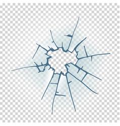 broken window glass realistic daylight design vector image