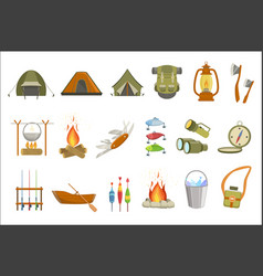 camping related objects set vector image