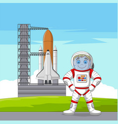 cartoon astronaut with spaceship ready to launch vector image