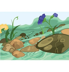 Cartoon flowers and stones vector image