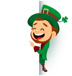 cartoon funny leprechaun showing on blank placard vector image