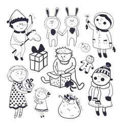 Childish christmas set in cartoon style vector image